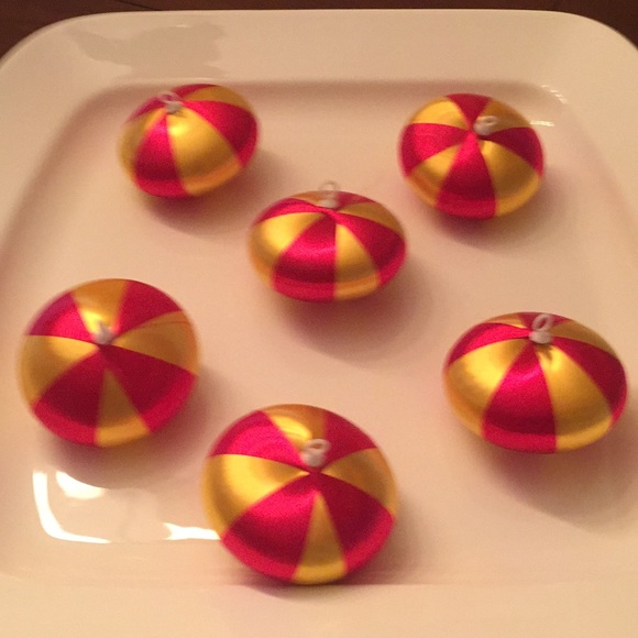 6 vintage red and gold striped silk ornaments.